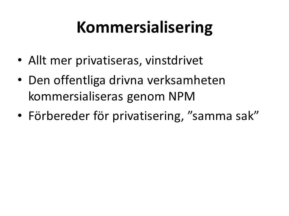 Kommersialisering • Allt mer privatiseras, vinstdrivet • Den offentliga drivna verksamheten kommersialiseras genom NPM • Förbereder för privatisering, samma sak
