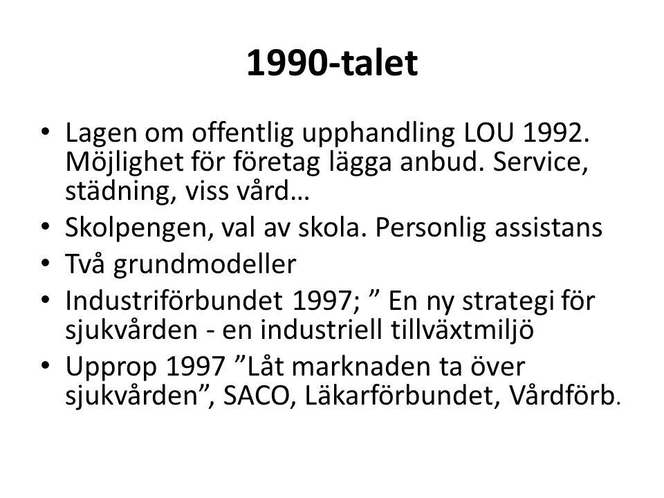 1990-talet • Lagen om offentlig upphandling LOU 1992.
