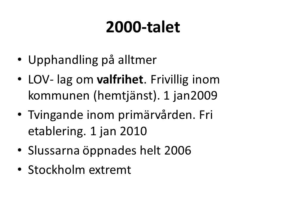 2000-talet • Upphandling på alltmer • LOV- lag om valfrihet.