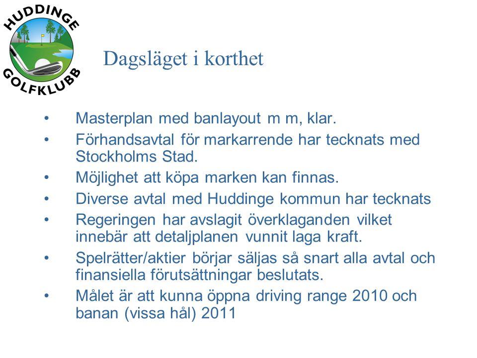 Dagsläget i korthet •Masterplan med banlayout m m, klar.