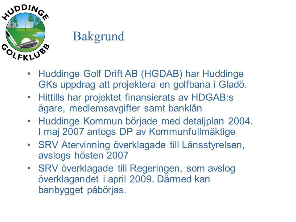Bakgrund •Huddinge Golf Drift AB (HGDAB) har Huddinge GKs uppdrag att projektera en golfbana i Gladö.