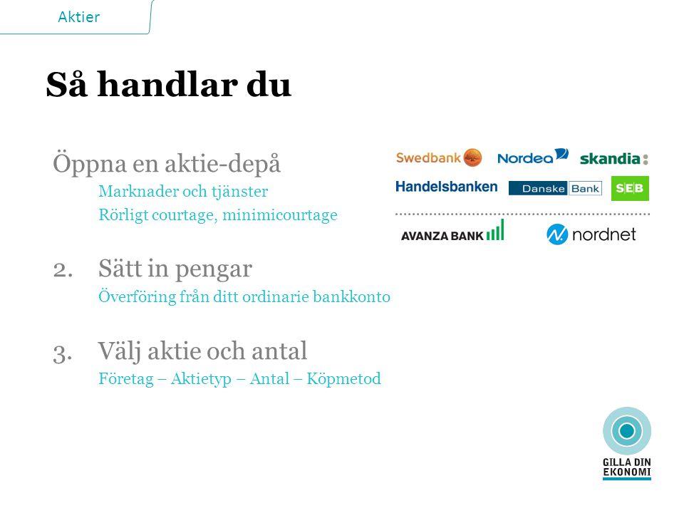 Aktier Så handlar du Öppna en aktie-depå Marknader och tjänster Rörligt courtage, minimicourtage 2. Sätt in pengar Överföring från ditt ordinarie bank