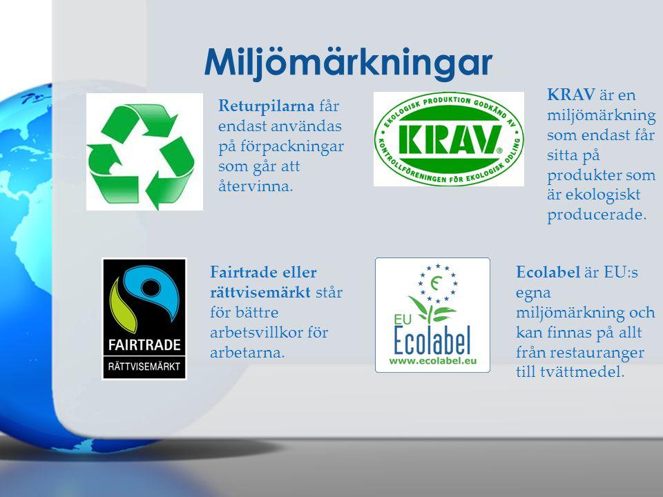 Miljömärkningar Returpilarna får endast användas på förpackningar som går att återvinna. Fairtrade eller rättvisemärkt står för bättre arbetsvillkor f