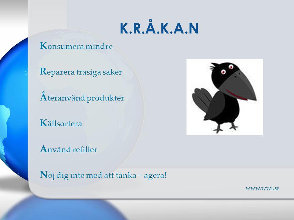 K onsumera mindre R eparera trasiga saker Å teranvänd produkter K ällsortera A nvänd refiller N öj dig inte med att tänka – agera! www.wwf.se K.R.Å.K.