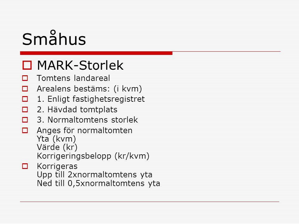 Småhus  MARK-Storlek  Tomtens landareal  Arealens bestäms: (i kvm)  1. Enligt fastighetsregistret  2. Hävdad tomtplats  3. Normaltomtens storlek