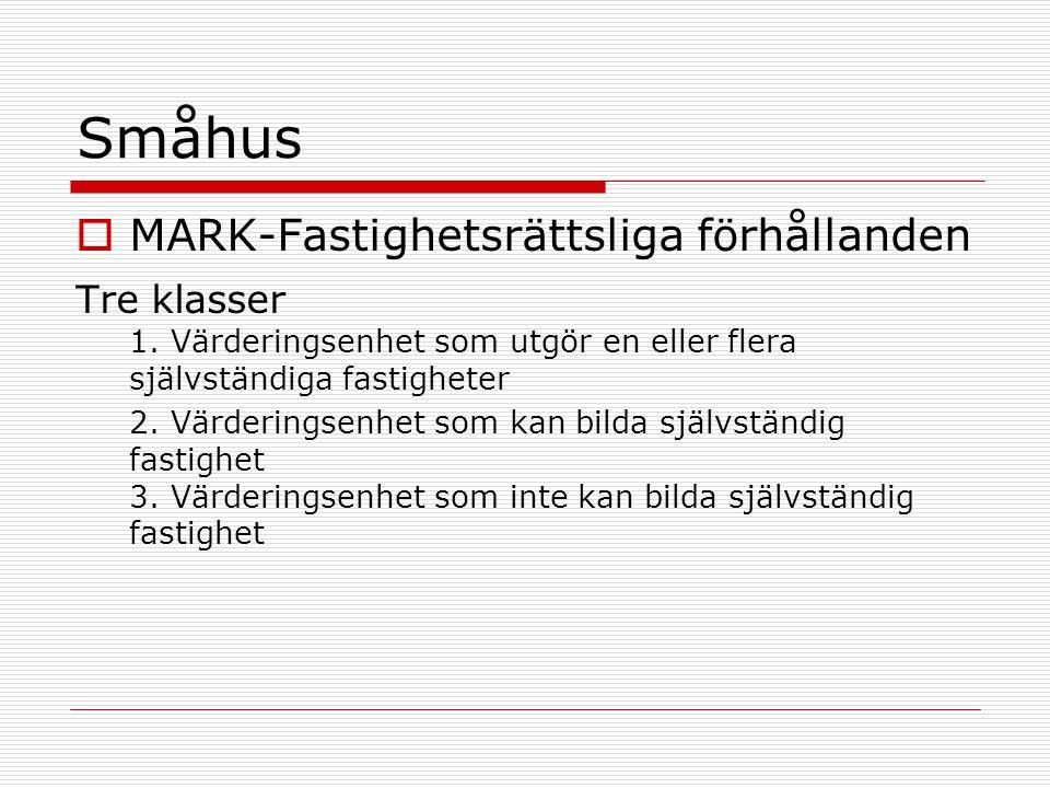 Småhus  MARK-Fastighetsrättsliga förhållanden Tre klasser 1.