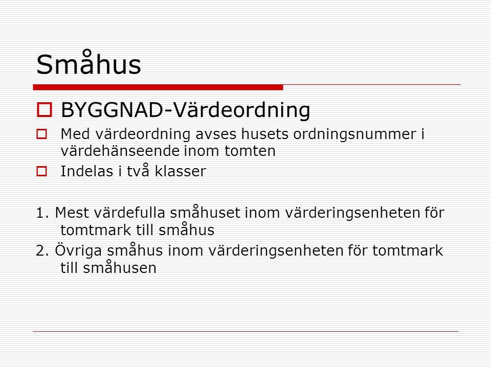 Småhus  BYGGNAD-Värdeordning  Med värdeordning avses husets ordningsnummer i värdehänseende inom tomten  Indelas i två klasser 1.