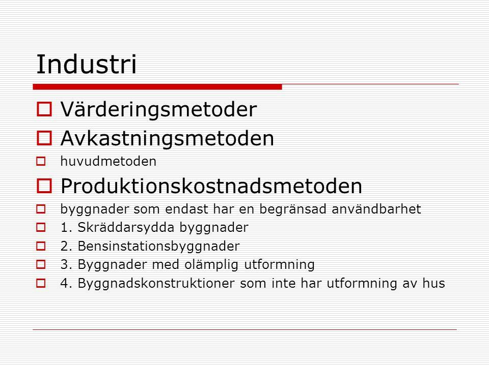 Industri  Värderingsmetoder  Avkastningsmetoden  huvudmetoden  Produktionskostnadsmetoden  byggnader som endast har en begränsad användbarhet  1.