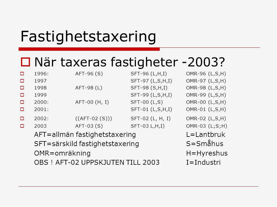 Fastighetstaxering  När taxeras fastigheter, 2003- .