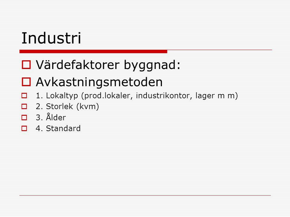 Industri  Värdefaktorer byggnad:  Avkastningsmetoden  1. Lokaltyp (prod.lokaler, industrikontor, lager m m)  2. Storlek (kvm)  3. Ålder  4. Stan