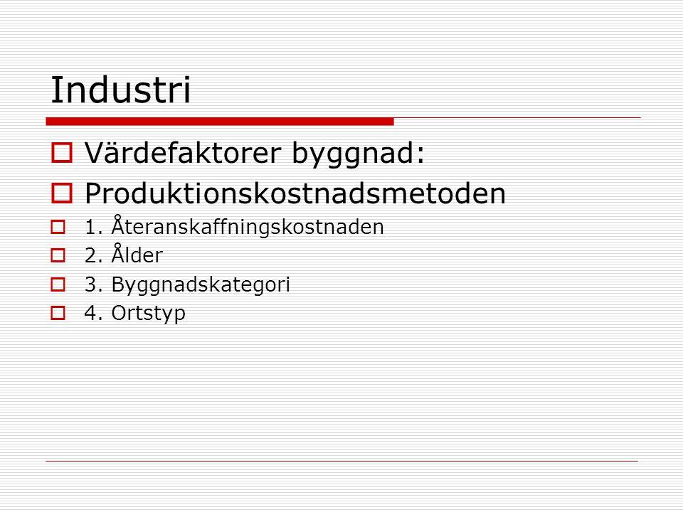 Industri  Värdefaktorer byggnad:  Produktionskostnadsmetoden  1.