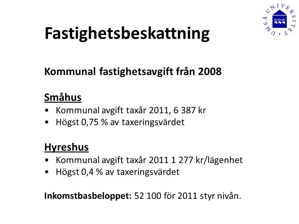 Fastighetsbeskattning Kommunal fastighetsavgift från 2008 Småhus •Kommunal avgift taxår 2011, 6 387 kr •Högst 0,75 % av taxeringsvärdet Hyreshus •Kommunal avgift taxår 2011 1 277 kr/lägenhet •Högst 0,4 % av taxeringsvärdet Inkomstbasbeloppet: 52 100 för 2011 styr nivån.