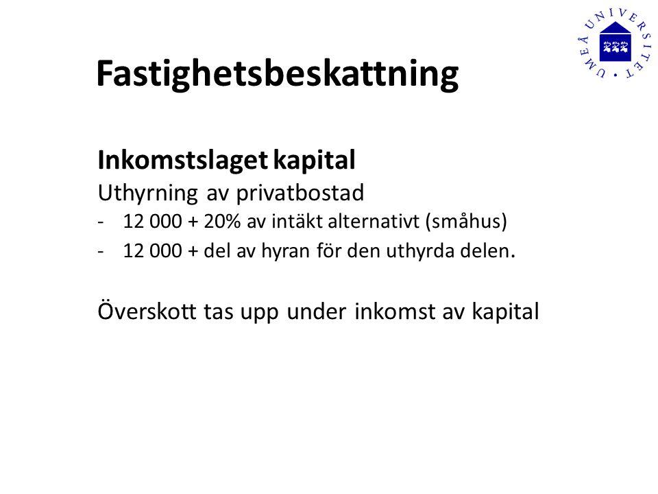 Fastighetsbeskattning Inkomstslaget kapital Uthyrning av privatbostad -12 000 + 20% av intäkt alternativt (småhus) -12 000 + del av hyran för den uthyrda delen.