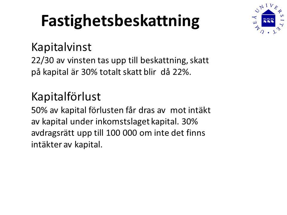 Fastighetsbeskattning Kapitalvinst 22/30 av vinsten tas upp till beskattning, skatt på kapital är 30% totalt skatt blir då 22%.