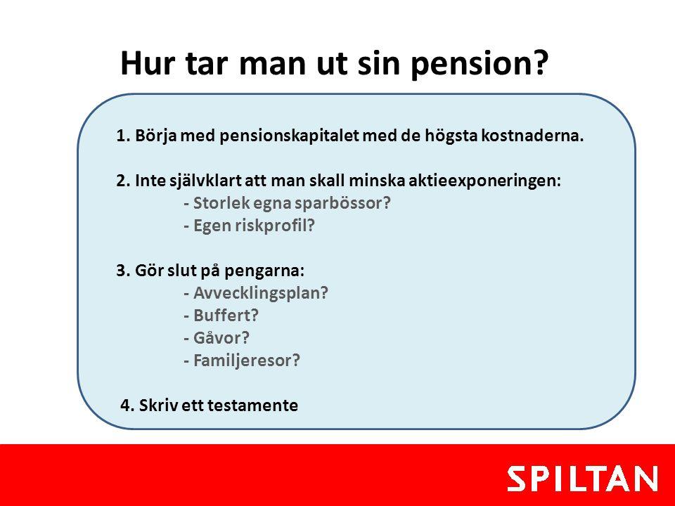 Hur tar man ut sin pension? 1. Börja med pensionskapitalet med de högsta kostnaderna. 2. Inte självklart att man skall minska aktieexponeringen: - Sto