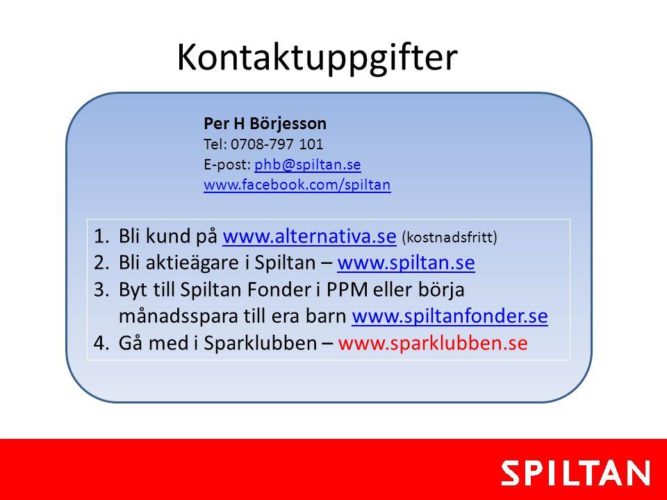 Kontaktuppgifter 1.Bli kund på www.alternativa.se (kostnadsfritt)www.alternativa.se 2.Bli aktieägare i Spiltan – www.spiltan.sewww.spiltan.se 3.Byt ti