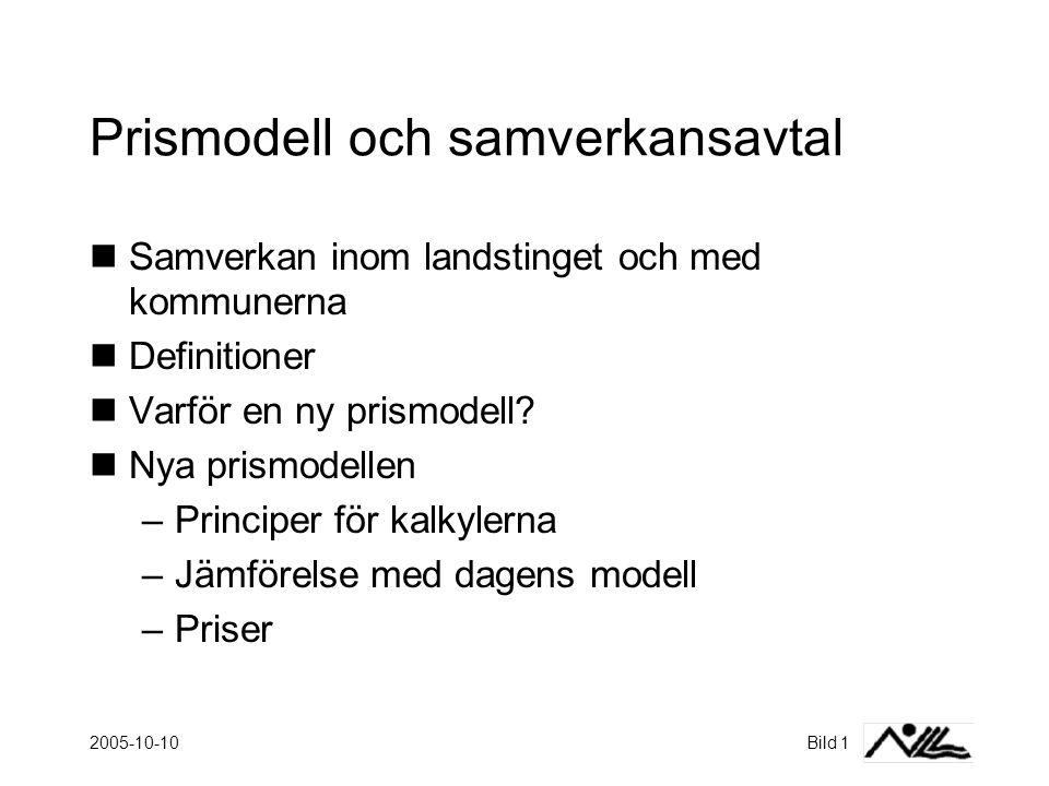 2005-10-10Bild 1 Prismodell och samverkansavtal  Samverkan inom landstinget och med kommunerna  Definitioner  Varför en ny prismodell.