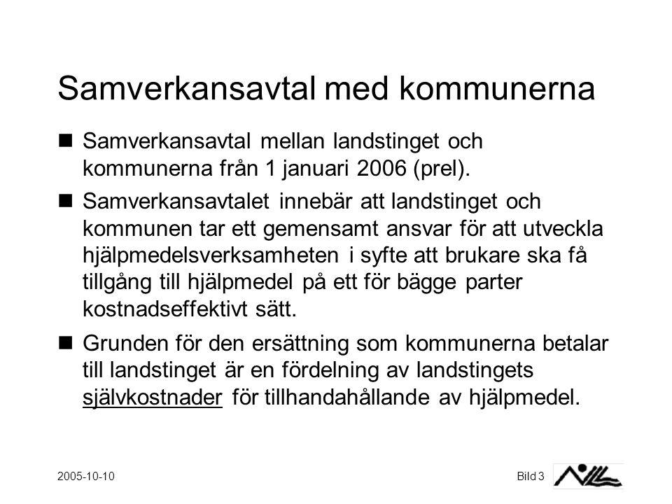 2005-10-10Bild 3 Samverkansavtal med kommunerna  Samverkansavtal mellan landstinget och kommunerna från 1 januari 2006 (prel).