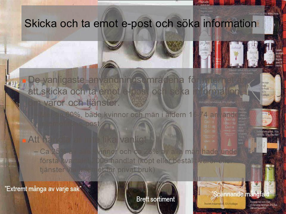 Brett sortiment Extremt många av varje sak Spännande mångfald Skicka och ta emot e-post och söka information  De vanligaste användningsområdena för Internet är att skicka och ta emot e-post och söka information om varor och tjänster.