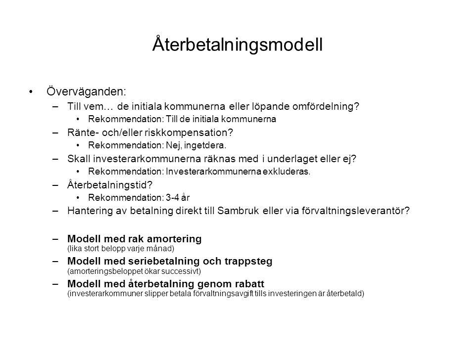 Återbetalningsmodell •Överväganden: –Till vem… de initiala kommunerna eller löpande omfördelning.