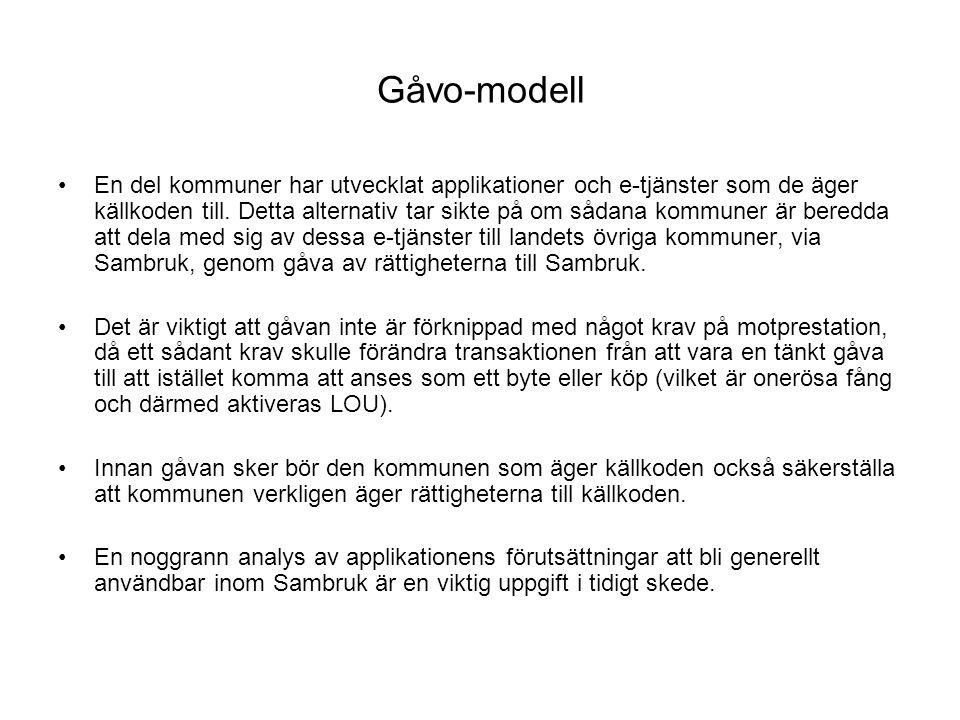 Gåvo-modell •En del kommuner har utvecklat applikationer och e-tjänster som de äger källkoden till.