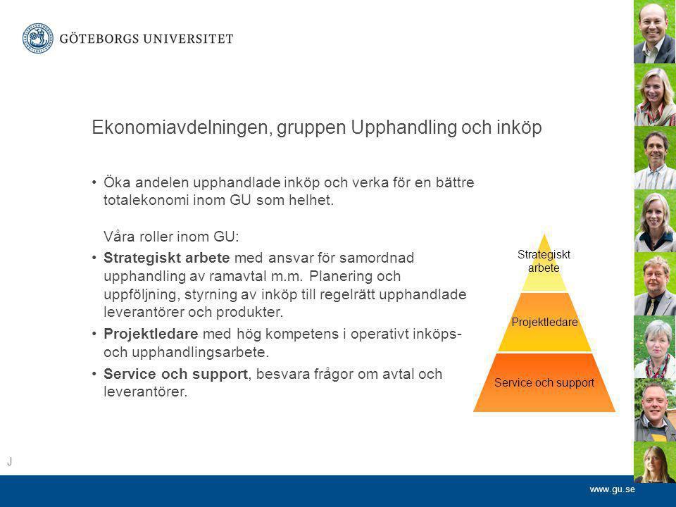 www.gu.se Ekonomiavdelningen, gruppen Upphandling och inköp •Öka andelen upphandlade inköp och verka för en bättre totalekonomi inom GU som helhet. Vå