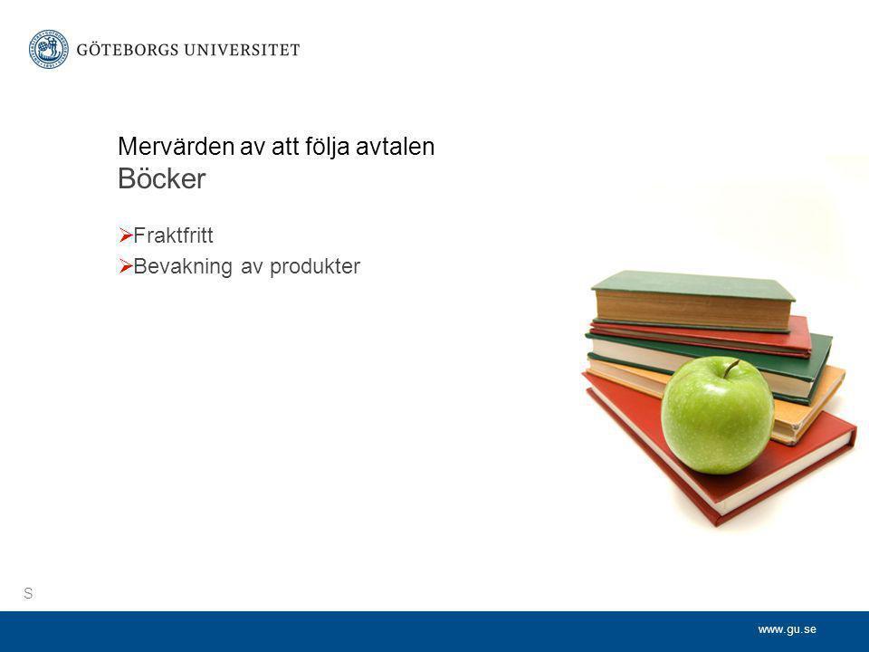 www.gu.se Mervärden av att följa avtalen Böcker  Fraktfritt  Bevakning av produkter S