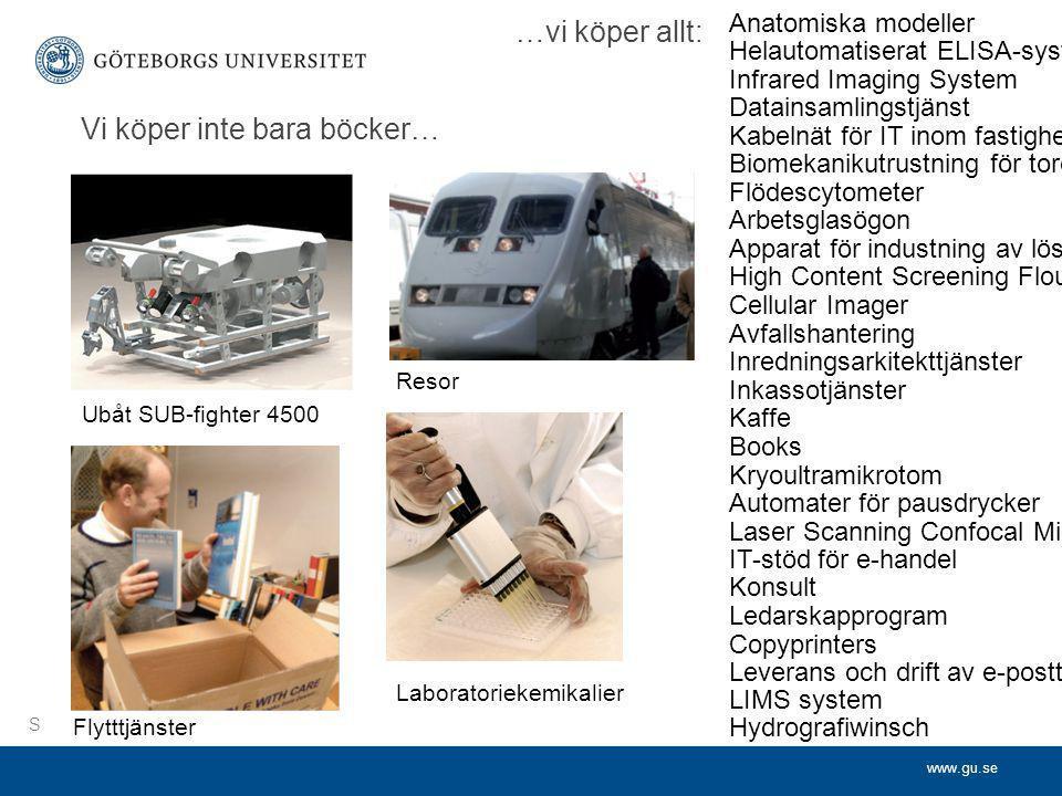 www.gu.se Vi köper inte bara böcker… Ubåt SUB-fighter 4500 Resor Flytttjänster Laboratoriekemikalier Flödescytometer med cellsorterare Kurssystem för