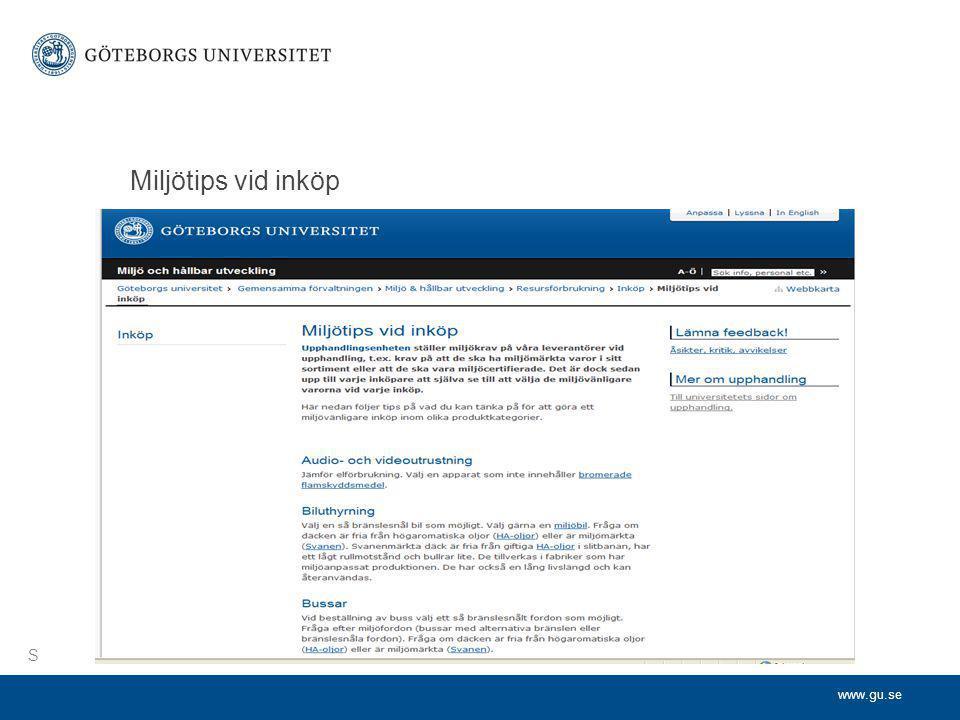 www.gu.se Miljötips vid inköp S