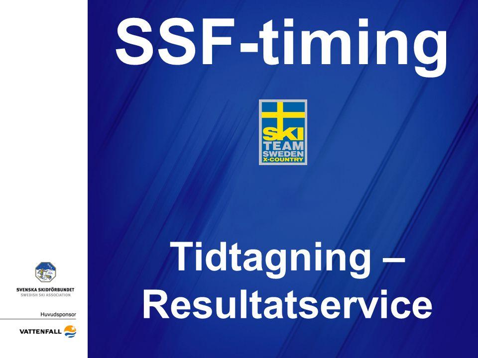 Agenda •Personliga chip •Att tänka på vid chiptidtagning •FIS-code och FIS-punkter •Lottning och sidning •Vilka tidtagnings/resultattjänster skall man ha •Tävlingsdata •Tidtagning i sprintheat •Vad händer med SSF Timing 2011/2012