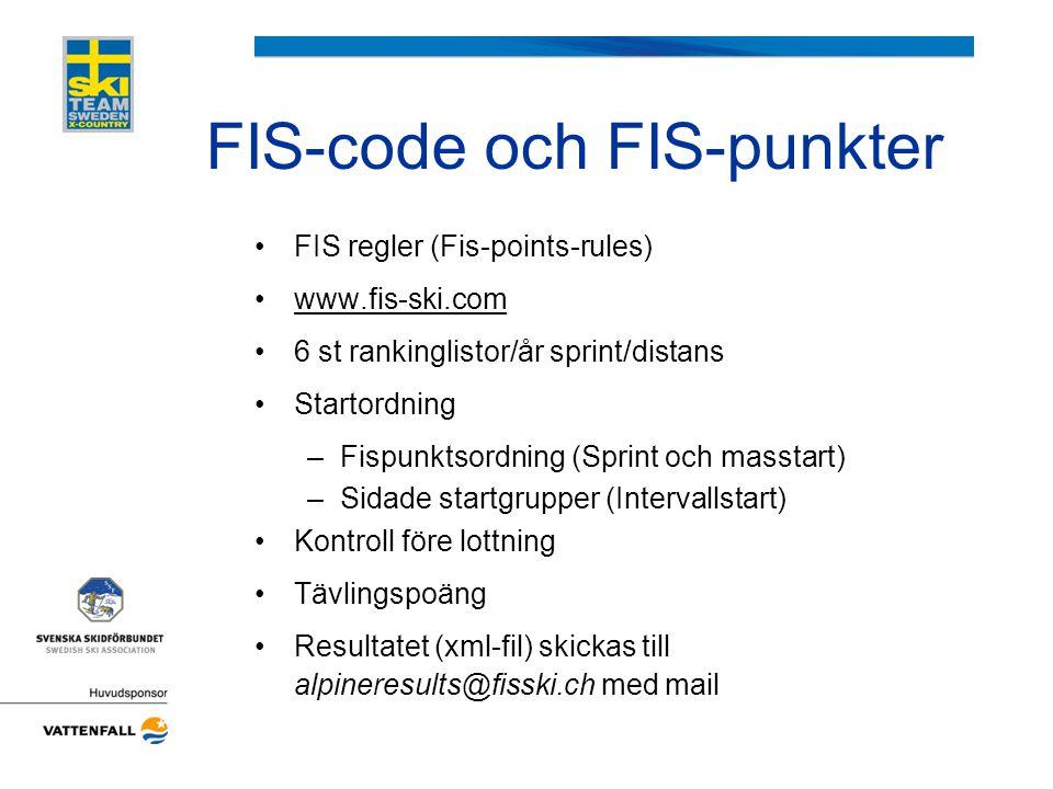 FIS-code och FIS-punkter •FIS regler (Fis-points-rules) •www.fis-ski.comwww.fis-ski.com •6 st rankinglistor/år sprint/distans •Startordning –Fispunkts