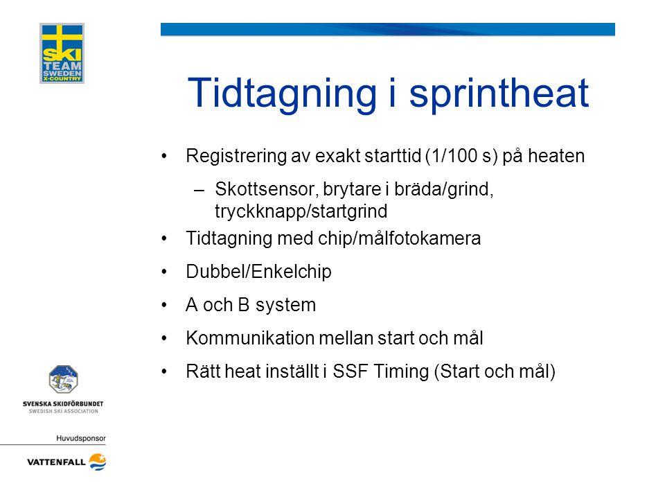 Tidtagning i sprintheat •Registrering av exakt starttid (1/100 s) på heaten –Skottsensor, brytare i bräda/grind, tryckknapp/startgrind •Tidtagning med