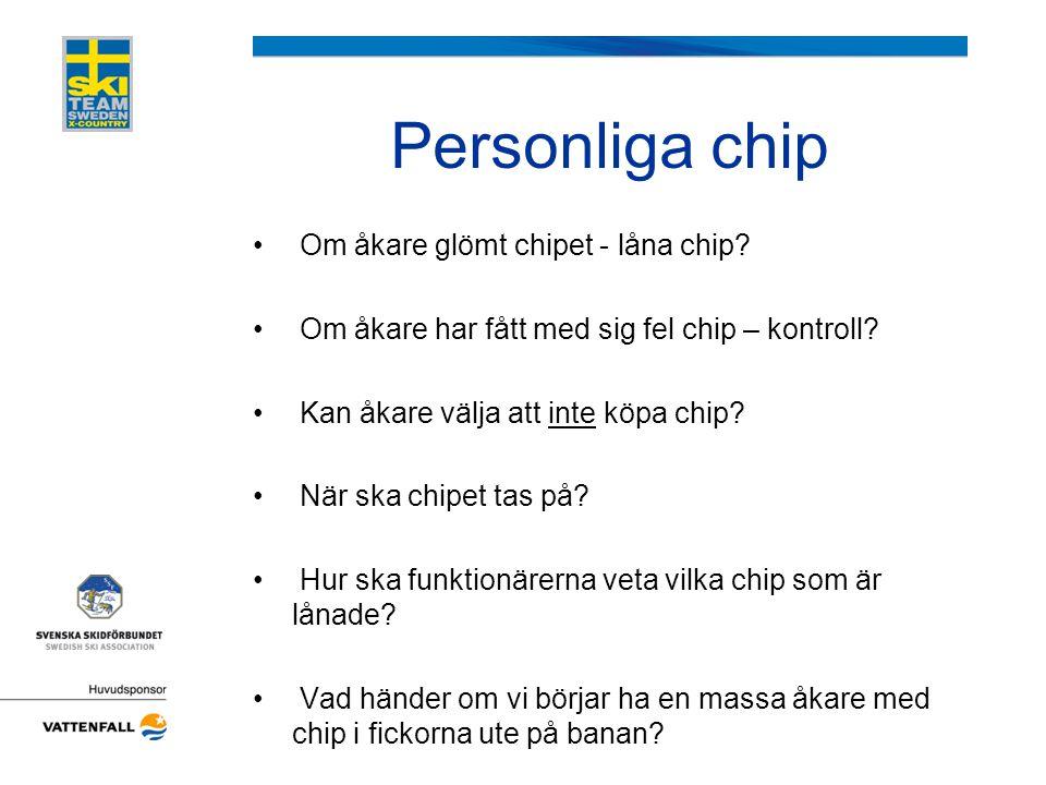 Personliga chip • Om åkare glömt chipet - låna chip? • Om åkare har fått med sig fel chip – kontroll? • Kan åkare välja att inte köpa chip? • När ska