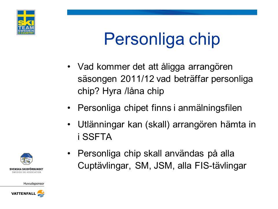 Personliga chip •Vad kommer det att åligga arrangören säsongen 2011/12 vad beträffar personliga chip? Hyra /låna chip •Personliga chipet finns i anmäl