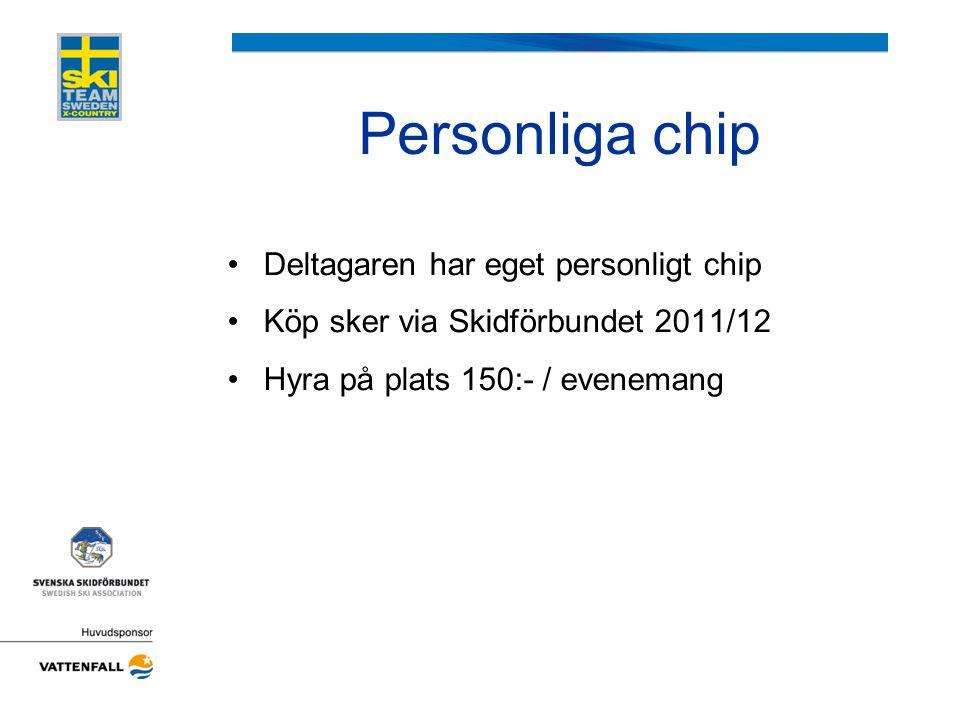 Personliga chip •Deltagaren har eget personligt chip •Köp sker via Skidförbundet 2011/12 •Hyra på plats 150:- / evenemang