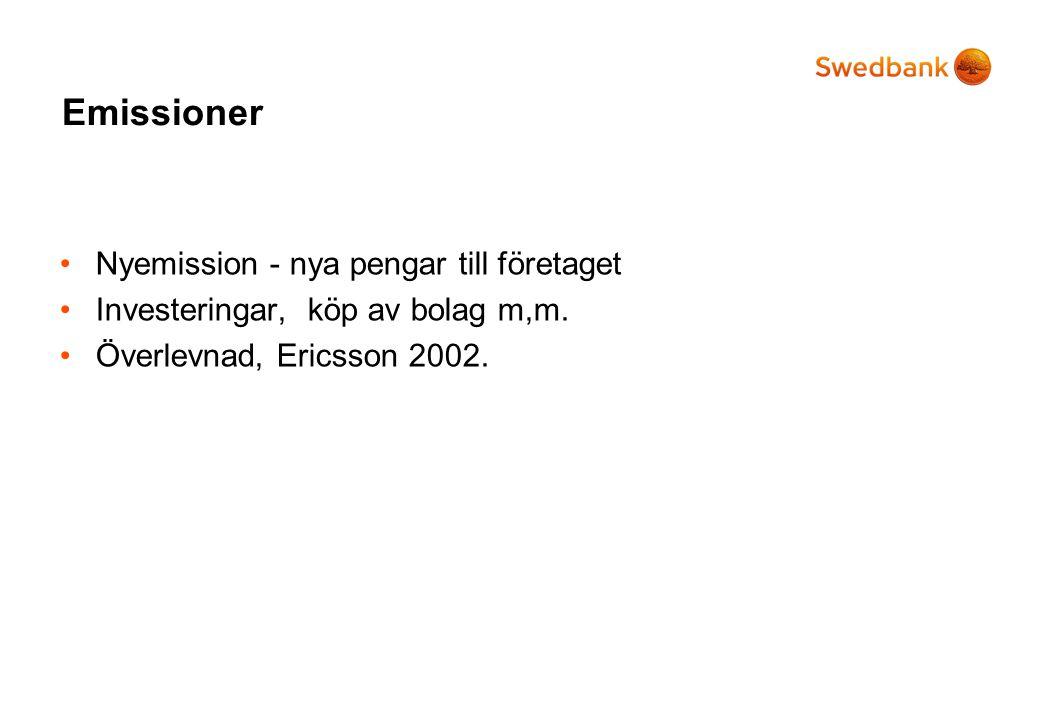 Emissioner •Nyemission - nya pengar till företaget •Investeringar, köp av bolag m,m. •Överlevnad, Ericsson 2002.