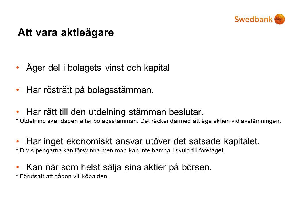 Relativvärdering Aktier och räntor *Visades ej.