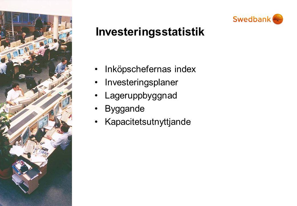 Investeringsstatistik •Inköpschefernas index •Investeringsplaner •Lageruppbyggnad •Byggande •Kapacitetsutnyttjande