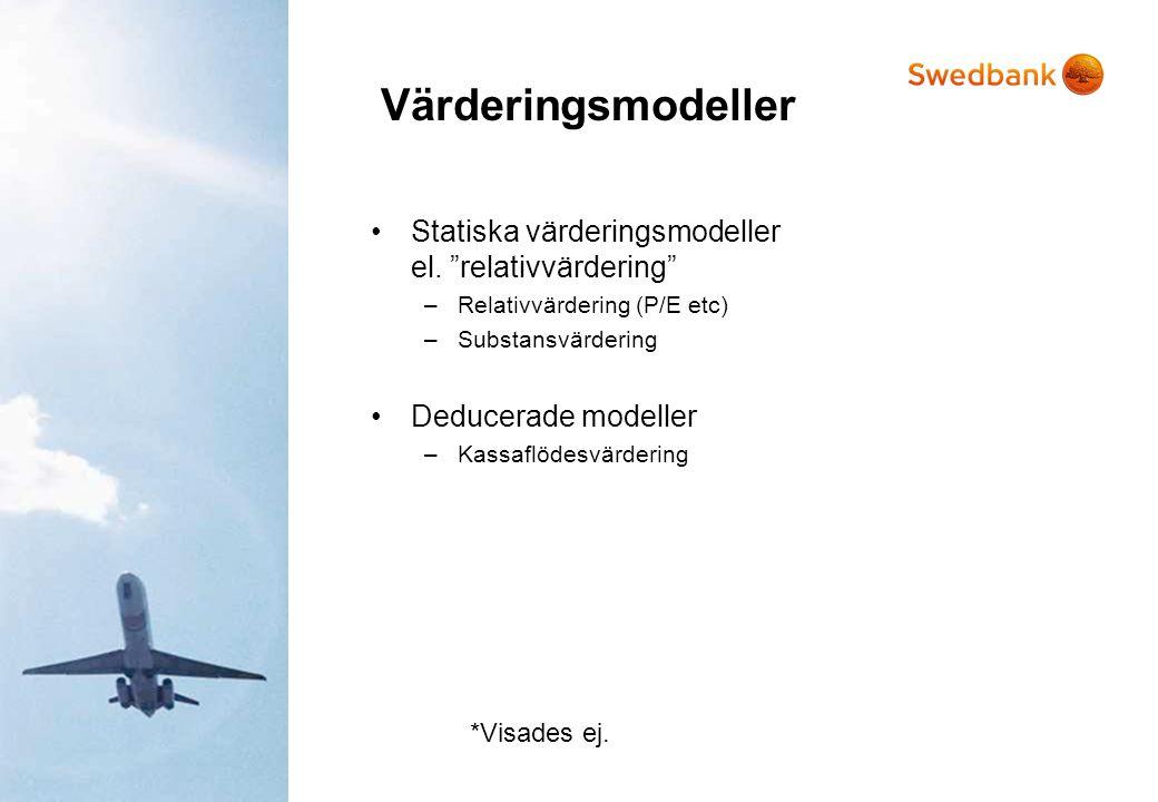 """Värderingsmodeller •Statiska värderingsmodeller el. """"relativvärdering"""" –Relativvärdering (P/E etc) –Substansvärdering •Deducerade modeller –Kassaflöde"""