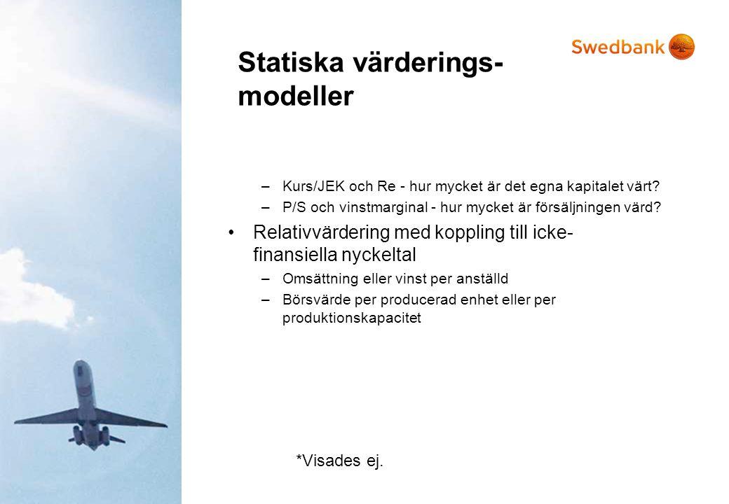 Statiska värderings- modeller –Kurs/JEK och Re - hur mycket är det egna kapitalet värt? –P/S och vinstmarginal - hur mycket är försäljningen värd? •Re