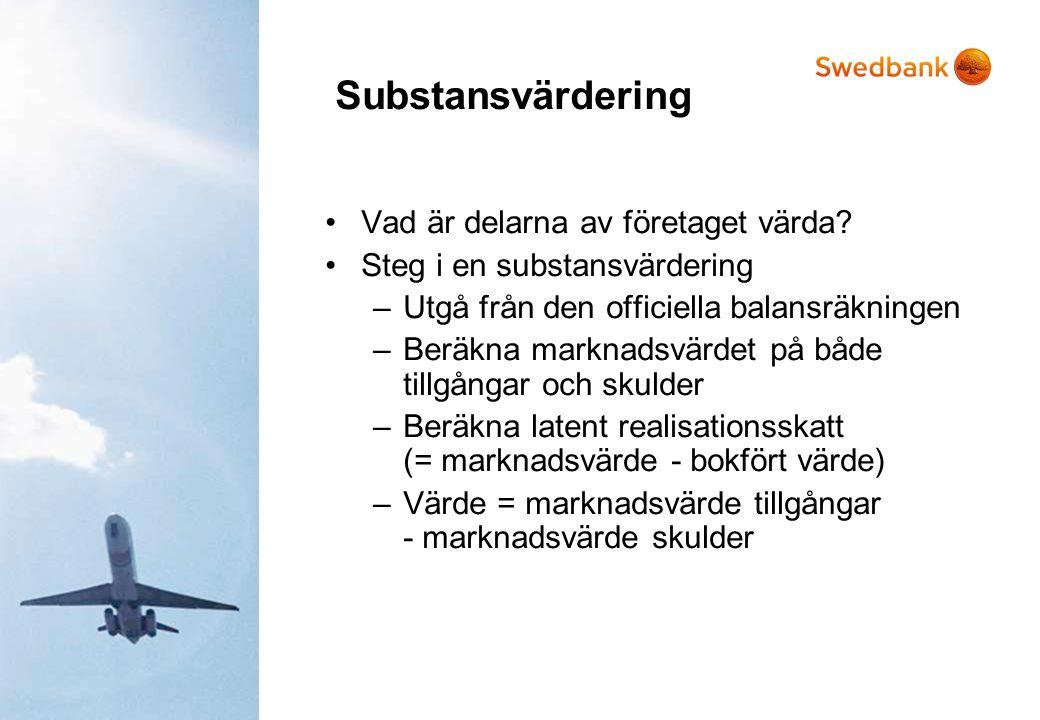 Substansvärdering •Vad är delarna av företaget värda? •Steg i en substansvärdering –Utgå från den officiella balansräkningen –Beräkna marknadsvärdet p