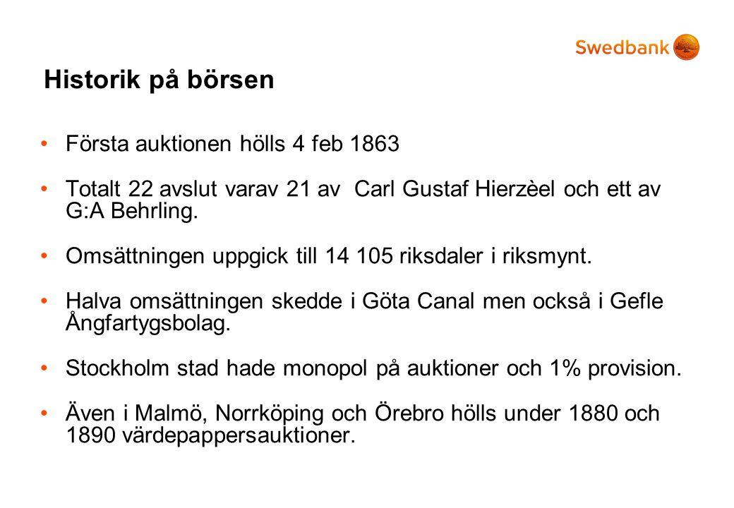 Historik på börsen •Första auktionen hölls 4 feb 1863 •Totalt 22 avslut varav 21 av Carl Gustaf Hierzèel och ett av G:A Behrling. •Omsättningen uppgic