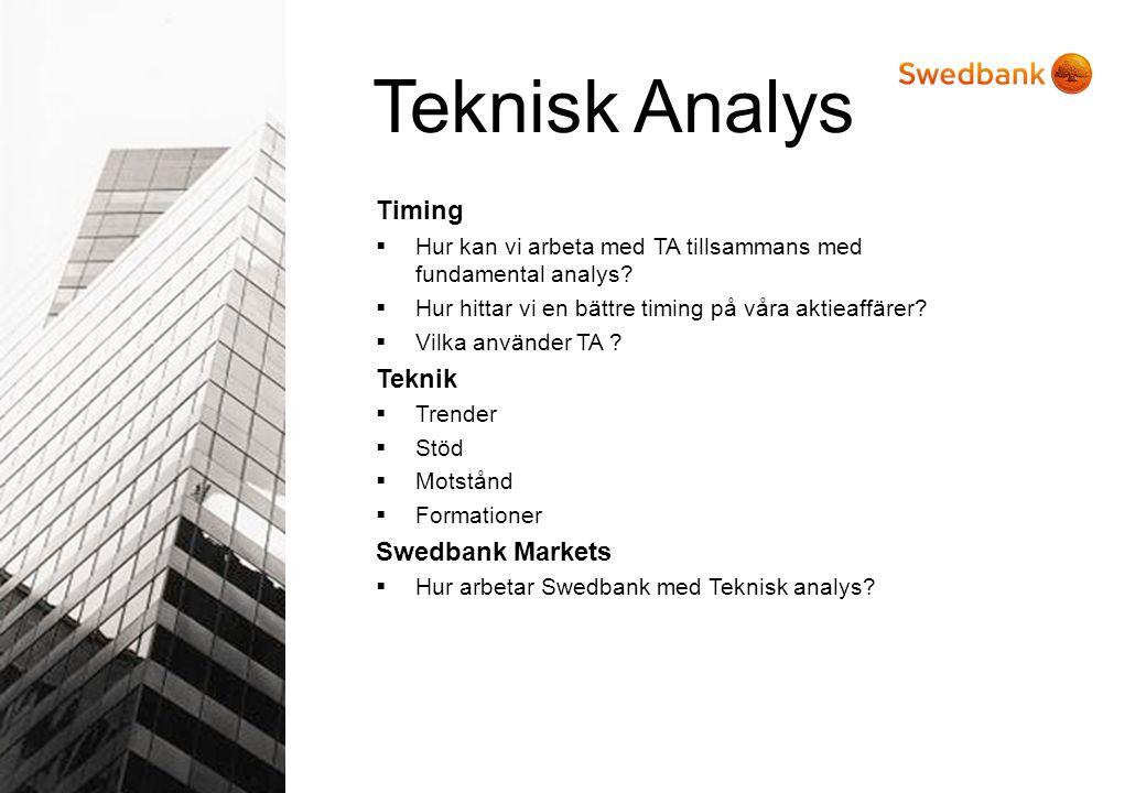 Timing  Hur kan vi arbeta med TA tillsammans med fundamental analys?  Hur hittar vi en bättre timing på våra aktieaffärer?  Vilka använder TA ? Tek