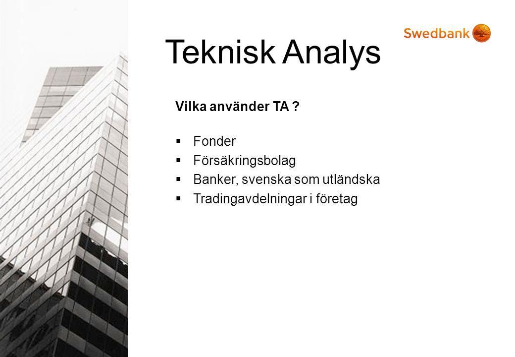 Vilka använder TA ?  Fonder  Försäkringsbolag  Banker, svenska som utländska  Tradingavdelningar i företag