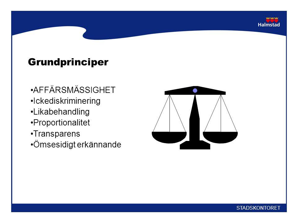 Grundprinciper •AFFÄRSMÄSSIGHET •Ickediskriminering •Likabehandling •Proportionalitet •Transparens •Ömsesidigt erkännande STADSKONTORET