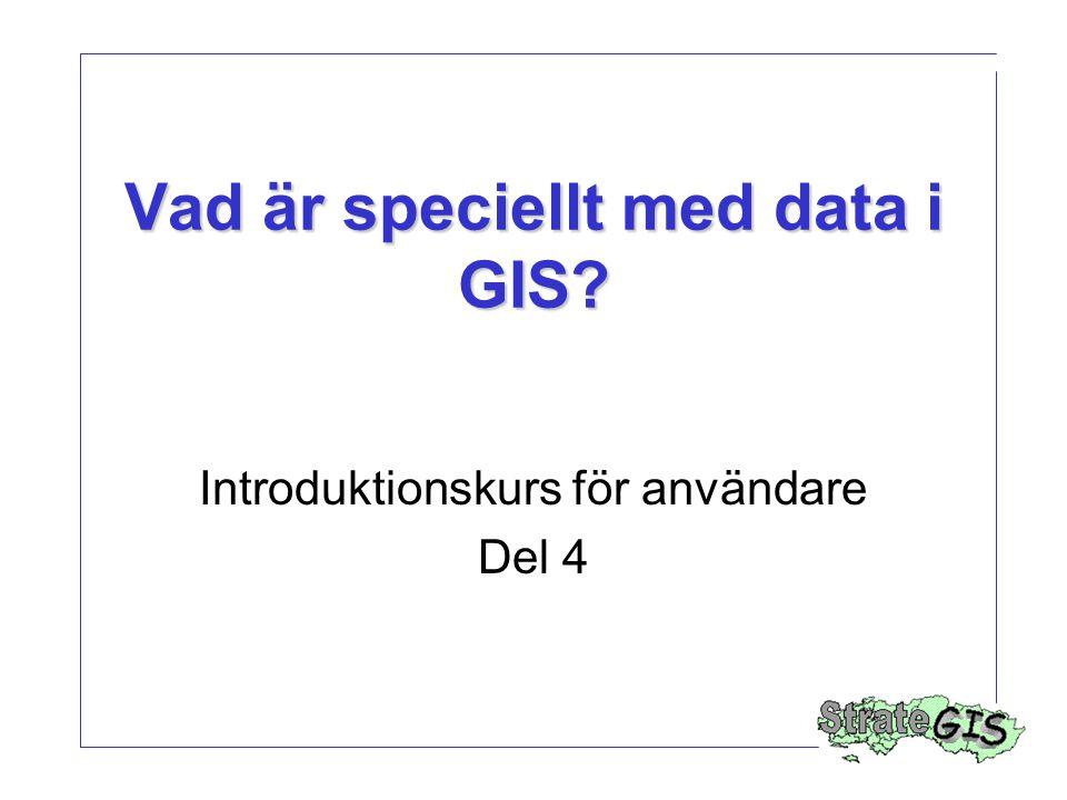 Vad är speciellt med data i GIS? Introduktionskurs för användare Del 4