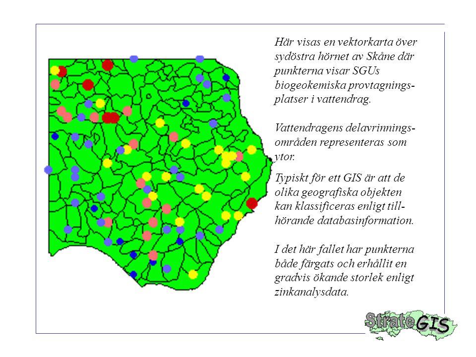Här visas en vektorkarta över sydöstra hörnet av Skåne där punkterna visar SGUs biogeokemiska provtagnings- platser i vattendrag.