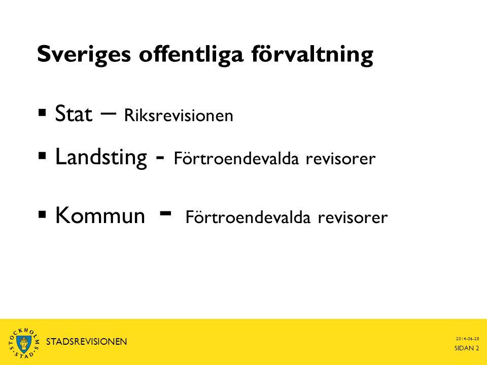 Sveriges offentliga förvaltning  Stat – Riksrevisionen  Landsting - Förtroendevalda revisorer  Kommun - Förtroendevalda revisorer 2014-06-28 SIDAN 2 STADSREVISIONEN