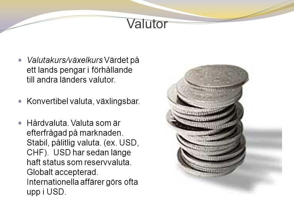 Valutor  Valutakurs/växelkurs Värdet på ett lands pengar i förhållande till andra länders valutor.  Konvertibel valuta, växlingsbar.  Hårdvaluta. V
