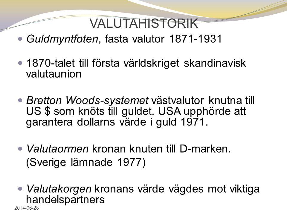 VALUTAHISTORIK  Guldmyntfoten, fasta valutor 1871-1931  1870-talet till första världskriget skandinavisk valutaunion  Bretton Woods-systemet västvalutor knutna till US $ som knöts till guldet.